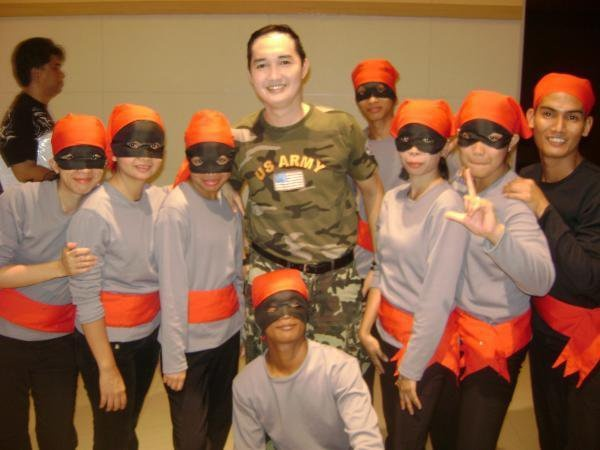 With vietcongs at the back stage #MissSaigon